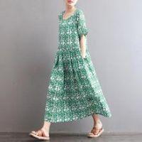 【卓图】女装夏季新款修身碎花连衣裙短袖印花雪纺A字裙