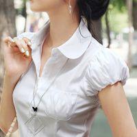 2018夏季韩版女士灯笼袖泡泡袖短袖白色衬衫职业修身显瘦衬衣
