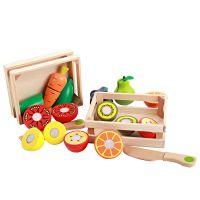 幼乐比 木制儿童益智早教过家家玩具 仿真水果蔬菜切切乐批发