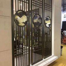 新中式屏风酒店客厅茶室隔断入户装饰玄关背景墙镂空花格定制