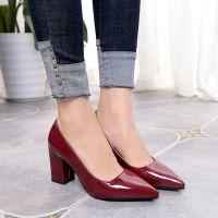 尖头粗跟高跟鞋中跟7厘米新款单鞋女秋季浅口小码33-34大码40-43