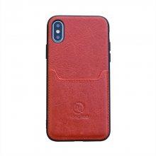 厂家定制批发真皮手机壳适用于苹果X/XS后盖式插卡商务贴皮手机套