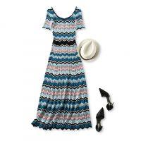 18夏季新品 法式风情 彩色波浪条纹 修身显瘦短袖长款针织连衣裙