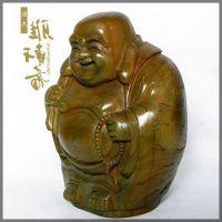 摆件【】红木工艺品 绿檀木雕刻 一团和气佛 商务礼品布袋佛