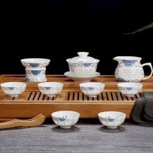 景德镇陶瓷茶具青花瓷玲珑茶具套装 家用办公室盖碗茶杯整套装