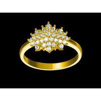 铜镀银镶嵌丹泉石戒指 女生产 恒金戒指 —宝石饰品定制厂家
