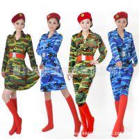 成人军旅演出服装女兵舞台表演服弹力迷彩裙套装广场舞军鼓舞蹈服
