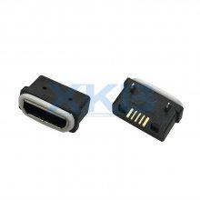 防水迈克 microusb 5P 带防水圈 等级IP67 头长1.0 板上SMT母座