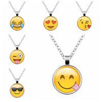 2017wish爆款 emoji表情时光宝石玻璃吊坠项链 外贸新款饰品批发
