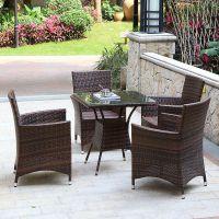 时尚新品庭院餐桌椅户外休闲藤桌椅环保藤家具室外阳台花园藤桌椅
