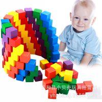 厂家直销定制儿童100粒木制启蒙积木 云和儿童益智玩具木质3-7岁