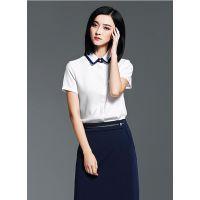 西安女装 女款衬衫 短袖 工装批发 混纺面料韩版 开衫 白色 绿色 灰色 黑色 粉色