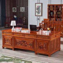 中山刺猬紫檀雕花办公桌 大班台红木家具植物生漆工艺 厂家定制