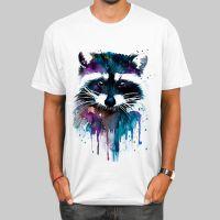 欧美潮款印花图案浣熊男士短袖T恤夏季新款时尚套头休闲T恤衬衫