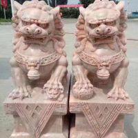 石雕狮子厂家销售石狮子 晚霞红石头狮子价格优惠亿昊石业