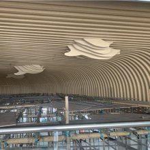 商业大厦装饰木纹凹凸铝方通材料 波浪凹凸造型铝方通