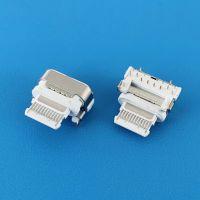 16PIN TYPE-C垫高母座/缩口式/90度插板DIP/牙刷头/四脚插/18W