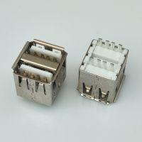 USB A/F 2.0 双层焊线式母座 8P/短体L=14.3/白胶/卷边/注塑型/铜壳/铁壳