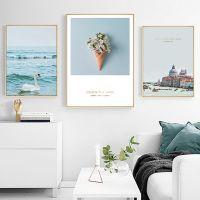恋恋湖畔 北欧风格装饰画客厅挂画风景建筑壁画沙发背景墙三联画