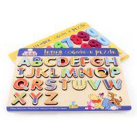 木质数字字母拼图拼板幼儿园宝宝儿童早教益智力积木制玩具