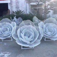 金属铁艺仿真花朵镂空网格巨型芙蓉花雕塑/白钢编织玫瑰花模型不锈钢大型莲花浙江厂家定做