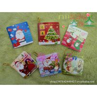 韩国卡通圣诞小贺卡 圣诞节贺卡带挂绳 袜子迷你节日卡片