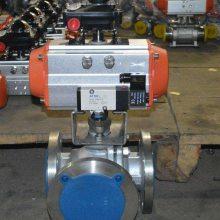 可诺泵阀Q6(45/44)F46气动三通衬氟球阀结构图