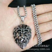 ebay速卖通热卖钛钢不锈钢复古款式钢色狮子头锆石吊坠现货货源