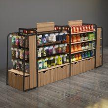 坚塔货架零食钢木弧形便利店货架