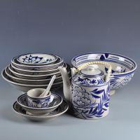 手绘青花餐具套装高足碗汤面碗摆台前厅后厨特色餐具