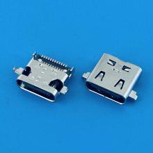 USB 3.1 TYPE-C沉板双贴24PIN母座/前插后贴双排贴片SMT/带弹片/CH=0.47