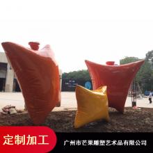 创意玻璃钢雕塑_广东玻璃钢景观雕塑_玻璃钢抱枕雕塑来图定做