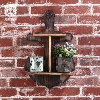 美式乡村风格隔物架 古典家居双层置物架卫浴室木质工艺品架子