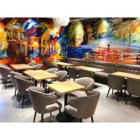 直销上海大学食堂餐厅桌椅 成套餐桌椅定制 上海韩尔家具厂