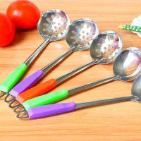 不锈钢汤勺汤漏 塑柄加厚火锅勺汤漏彩柄火锅勺子漏 淘宝热销汤勺