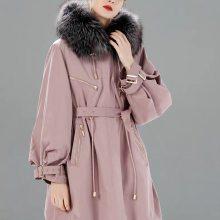 北京优希雅派克服 皮草双层内胆 貉子大毛领 高端精品女装