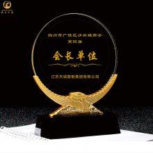 太原公司成立纪念品,商会大会会员礼品,水晶帆船图案纪念牌