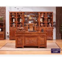 红木家具 刺猬紫檀办公桌写字台一套多少钱 厂家直销