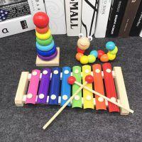 木制婴幼儿童益智音乐男女孩宝宝玩具八音手敲琴1-2-3周岁小木琴