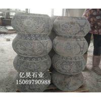 青石石雕柱墩厂家,圆形空心包皮石柱墩制作