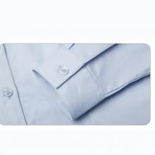 贵州女衬衣批发,订做行政夏装,商务衬衫,QDV-101N贵阳蓝色细斜纹天丝棉V字领韩版休闲长袖女衬衣