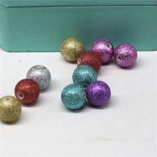 厂价12mm皱纹彩色锡纸圆珠散珠直孔串珠 新款时尚手工串珠