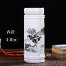 定制陶瓷双层保温杯花鸟陶瓷杯子定制大型活动纪念礼品杯