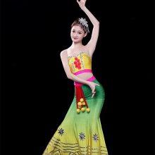 傣族舞蹈服女艺考孔雀舞成人渐变鱼尾裙修身包臀民族风