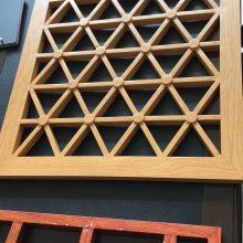 国际大酒店装饰中式木色铝格栅 铝合金格栅屏风