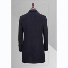 TL3605贵州男大衣定做藏青色50%羊毛戗驳领单排扣两粒中长款男大衣