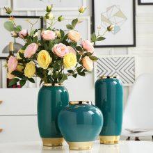 景德镇新中式创意蓝色镀金台面陶瓷花瓶客厅会所玄关装饰花器花瓶