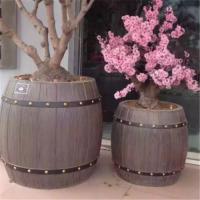 防腐木花箱,碳化木花箱 厂家定制户外水泥仿木花盆 水泥仿木花桶