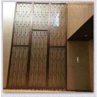 客厅玄关装修效果图 餐厅屏风镂空隔断 不锈钢屏风 玫瑰金定制