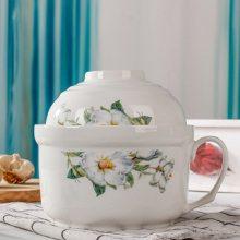 辰天陶瓷中式泡面碗带盖微波炉专用保鲜碗套装
